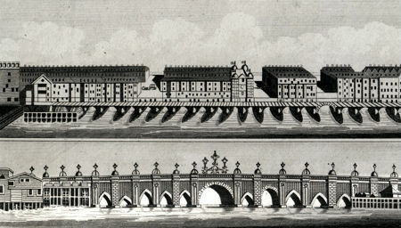 ANTIQUE PRINT: LONDON BRIDGE BEFORE AND SINCE THE HOUSES WERE PULLED DOWN.