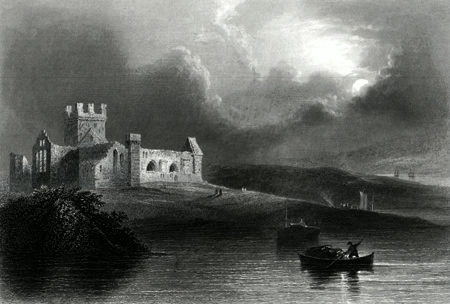 ANTIQUE PRINT: DUNBRODY ABBEY.