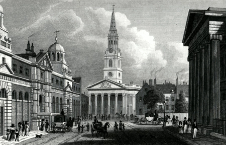 ANTIQUE PRINT: THE NEW OPENING TO ST. MARTIN'S CHURCH. FROM PALL MALL EAST.