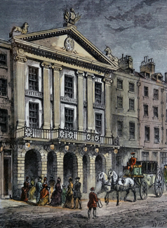 ANTIQUE PRINT: FRONT OF OLD DRURY LANE THEATRE.