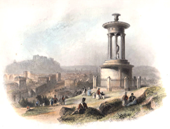 ANTIQUE PRINT: EDINBURGH FROM THE CALTON HILL. (WITH DUGALD STEWART'S MONUMENT).