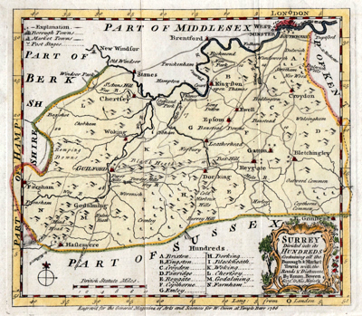 ANTIQUE MAP: SURREY DIVIDED INTO ITS HUNDREDS CONTAINING ALL THE BUROUGH & MARKET TOWNS WITH THE ROADS & DISTANCES.