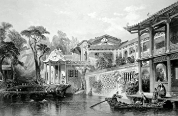 ANTIQUE PRINT: HOUSE OF CONSEEQUA, A CHINESE MERCHANT, IN THE SUBURBS OF CANTON [GUANGZHOU]. FROM A DRAWING IN THE POSSESSION OF SIR GEO. STAUNTON, BART.
