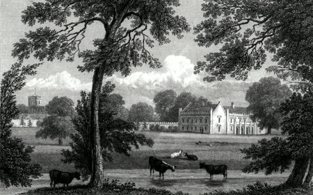 Antique print of Norton Hall near Daventry