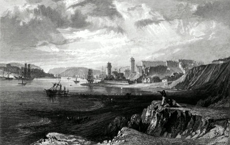 ANTIQUE PRINT: NORTH & SOUTH SHIELDS, TAKEN FROM THE ROCKS NEAR TYNEMOUTH.