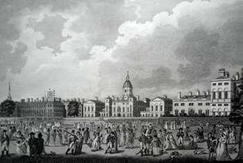 ANTIQUE PRINT: THE ADMIRALTY, THE WAR OFFICE, & THE TREASURY.