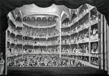 ANTIQUE PRINT: DRURY LANE THEATRE, FROM THE STAGE DURING THE PERFORMANCE.
