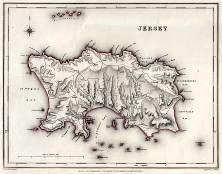 ANTIQUE MAP: JERSEY.