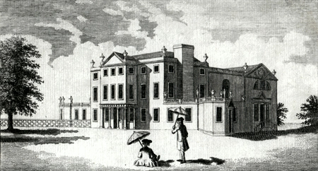 ANTIQUE PRINT: BELVEDERE HOUSE, THE SEAT OF SIR SAMPSON GIDEON BART.