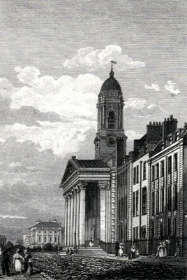 ANTIQUE PRINT: ST. GEORGE'S CHURCH, HANOVER SQUARE.