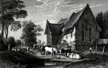 ANTIQUE PRINT: COGGESHALL ABBEY, ESSEX.