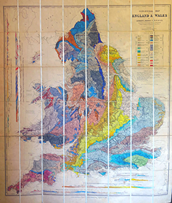 RAMSAY, Andrew C. (Sir Andrew Crombie), 1814-1891 :  GEOLOGICAL MAP OF ENGLAND & WALES.