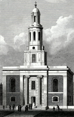 ANTIQUE PRINT: ST. JOHN'S, HOXTON.