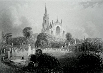 ANTIQUE PRINT: HIGHGATE CHURCH (FROM THE CEMETERY).