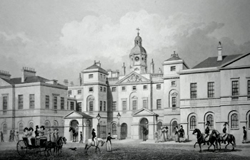 ANTIQUE PRINT: HORSE GUARDS, PARLIAMENT STREET.