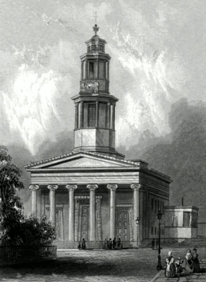 ANTIQUE PRINT: ST. PANCRAS CHURCH, NEW CHURCH.
