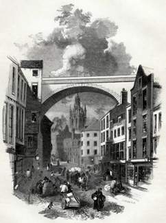 ANTIQUE PRINT: 2. – VIADUCT, AT END OF DEAN STREET [NEWCASTLE].