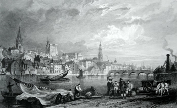 ANTIQUE PRINT: NEWCASTLE-UPON-TYNE, FROM NEW CHATHAM, GATESHEAD.