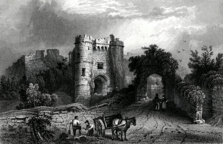 ANTIQUE PRINT: CARISBROOK CASTLE.