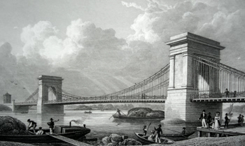 ANTIQUE PRINT: SUSPENSION BRIDGE, OVER THE THAMES AT HAMMERSMITH.