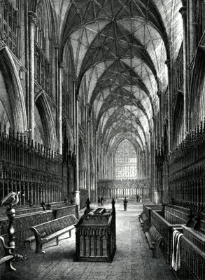 ANTIQUE PRINT: YORK CATHEDRAL. CHOIR LOOKING EAST.