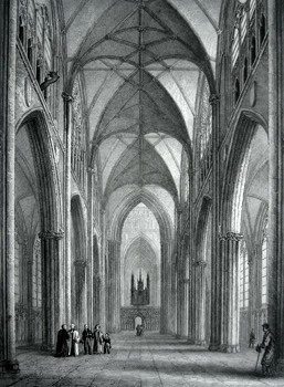 ANTIQUE PRINT: YORK CATHEDRAL. VIEW OF THE NAVE.