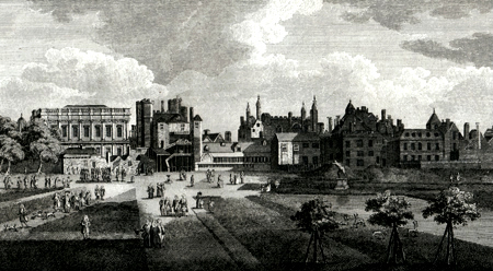 ANTIQUE PRINT: VIEW OF THE OLD HORSE GUARDS.