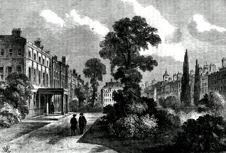 ANTIQUE PRINT: QUEEN SQUARE, 1810.