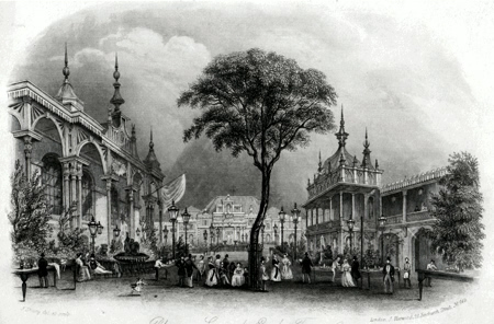 ANTIQUE PRINT: PLEASURE GROUNDS. EAGLE TAVERN. CITY ROAD.