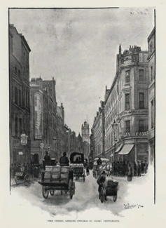ANTIQUE PRINT: FORE STREET, LOOKING TOWARDS ST. GILES', CRIPPLEGATE.