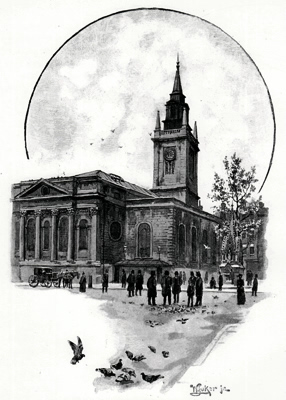ANTIQUE PRINT: THE CHURCH OF ST. LAWRENCE JEWRY, GRESHAM STREET.