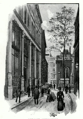 ANTIQUE PRINT: LOVE LANE, ALDERMANBURY.