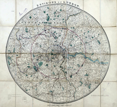 ANTIQUE MAP: ENVIRONS OF LONDON.