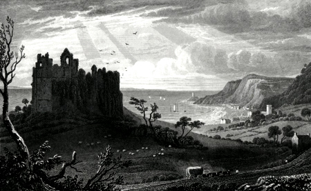 ANTIQUE PRINT: OYSTERMOUTH CASTLE, GLAMORGANSHIRE.