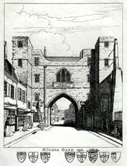 ANTIQUE PRINT: ST. JOHNS GATE 193.