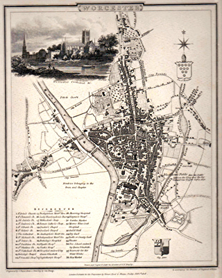 ANTIQUE MAP: WORCESTER.