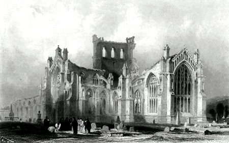 ANTIQUE PRINT: MELROSE ABBEY. (ROXBURGHSHIRE.)
