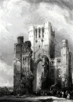 ANTIQUE PRINT: KELSO ABBEY, ROXBURGHSHIRE.
