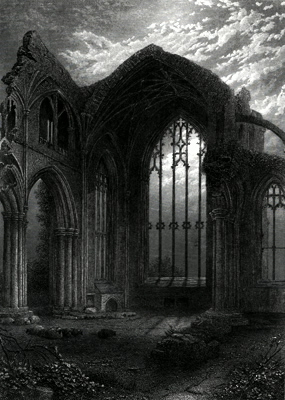ANTIQUE PRINT: MELROSE ABBEY.