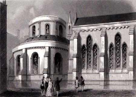 Antique print of Temple Church