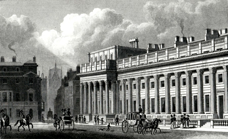 ANTIQUE PRINT: THE NEW TREASURY, WHITEHALL. TO JOHN SOANE ESQR. F.R.S. F.S.A. &C. THIS PLATE IS RESPECTFULLY DEDICATED.