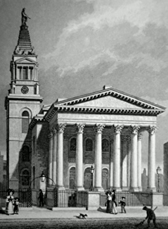 ANTIQUE PRINT: ST. GEORGE'S, BLOOMSBURY.