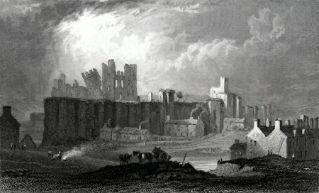 Antique print of Caerphilly Castle