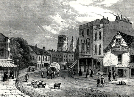 ANTIQUE PRINT: HACKNEY, LOOKING TOWARDS THE CHURCH, 1840.