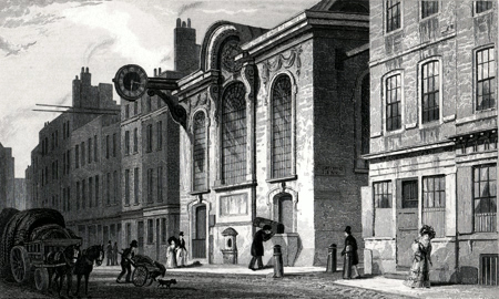 ANTIQUE PRINT: ST. SWITHIN, LONDON STONE, CANNON STREET.