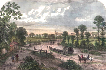 ANTIQUE PRINT: HIGHGATE, FROM UPPER HOLLOWAY. (FROM CHATELAIN, 1745.)