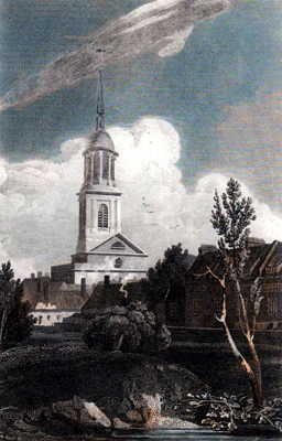 ANTIQUE PRINT: SHOREDITCH CHURCH.