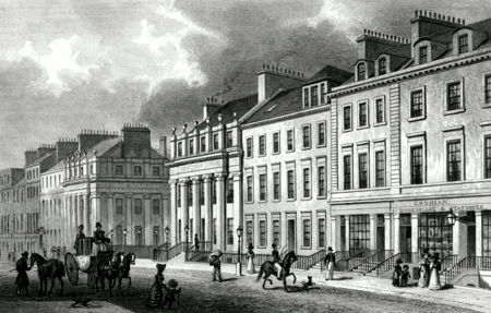 ANTIQUE PRINT: EAST SIDE OF ST. ANDREW'S SQUARE, EDINBURGH.