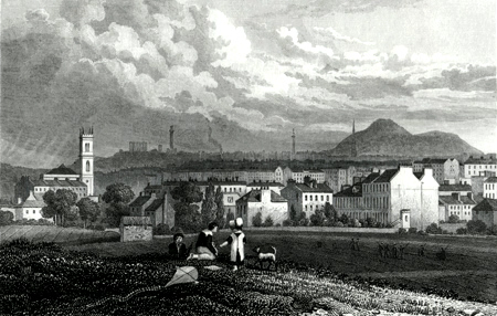 ANTIQUE PRINT: PART OF THE NEW TOWN, FROM THE NORTH WEST, EDINBURGH.