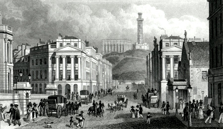 ANTIQUE PRINT: WATERLOO PLACE, THE NATIONAL & NELSON'S MONUMENTS, CALTON HILL, &C. EDINBURGH.